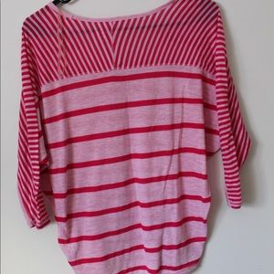 SO Tops - Red and pink striped  top